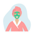 a girl with a towel on her head and a facemask vector image vector image