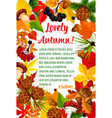 autumn leaf and mushroom poster template design vector image