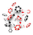 banner for casino with realistic red black chips vector image vector image