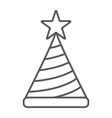 birthday hat thin line icon decor and party vector image vector image