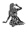 black tattoo art with super hero woman silhouette vector image vector image