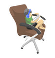 boy playing tablet on big office chair vector image