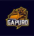 bulldozer mascot esport logo vector image