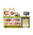butchery met sausages shop counter of supermarket vector image vector image