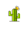 cactus with flower logo for production vector image vector image