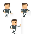 cartoon businessman with sign vector image vector image