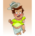 cartoon funny fat man in the hat quickly flees vector image vector image