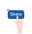 cartoon hand press on share button vector image vector image
