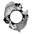 Circle frame with decorative fish Image for vector image vector image