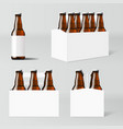 clear six brown beer bottles white pack vector image