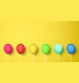 colorful realistic 3d balloons on yellow vector image