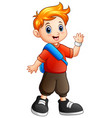 cute boy cartoon waving hand vector image vector image