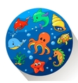 cute sea creatures set vector image vector image