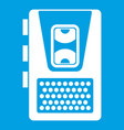 dictaphone icon white vector image vector image