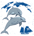 dolphins and tall ship vector image vector image