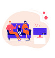 family staying at home - flat design style vector image vector image