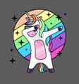 fantasy dabbing horse unicorn flat style vector image