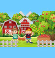 farm scene with farmer boy harvests apples vector image vector image