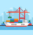 flat cargo ship in docks harbor crane of shipping vector image