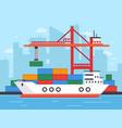 flat cargo ship in docks harbor crane shipping vector image