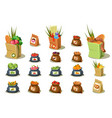 flat set of farm products natural food vector image