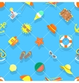 Flat Summer Vacation Beach Icons Seamless vector image vector image