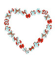 frame in shape a heart from different bows vector image