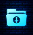 glowing neon folder download icon isolated on vector image vector image