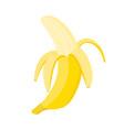 half peeled banana on white background vector image