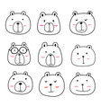 hand drawn cute bear characters set vector image