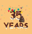 happy birthday thirty five year vector image vector image
