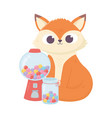 happy day little fox sitting with jar full of vector image vector image