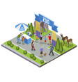 isometric zoo entrance composition vector image vector image