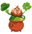 leprechaun cartoon character or funny green dwarf vector image vector image