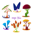 magic trees set cartoon elements vector image