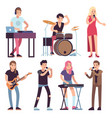 musicians rock and pop musicians with microphones vector image vector image
