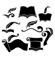 old books parchment reading and writing symbols vector image