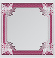 oriental frame on pink chinese pattern background vector image vector image