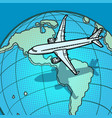 plane flies over globe america vector image
