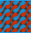 Red and blue embossed interlocking wavy lines vector image vector image