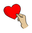 right hand holding big red three heart shape vector image