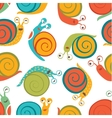 Seamless pattern with cute happy snails vector image vector image
