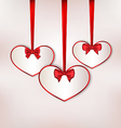 Set card heart shaped with silk bow for Valentine vector image vector image