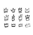 set hand drawn doodles crowns vector image vector image