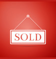sold sign isolated on red background sold sticker vector image vector image