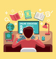 student or school boy studying on computer online vector image vector image