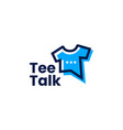 tee talk t shirt chat bubble social logo icon vector image vector image