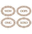 vintage oval frames set with different emotions vector image vector image