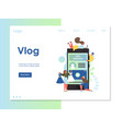 vlog website landing page design template vector image