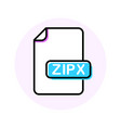 zipx file format extension color line icon vector image vector image